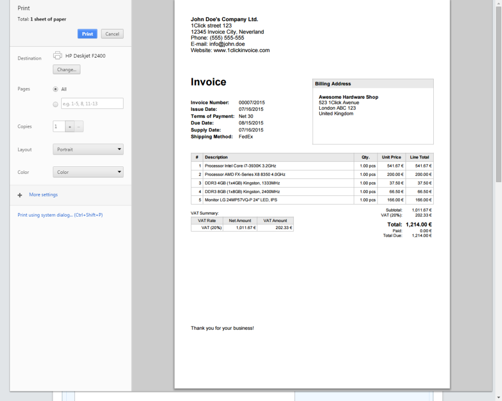 1click invoice online invoicing software
